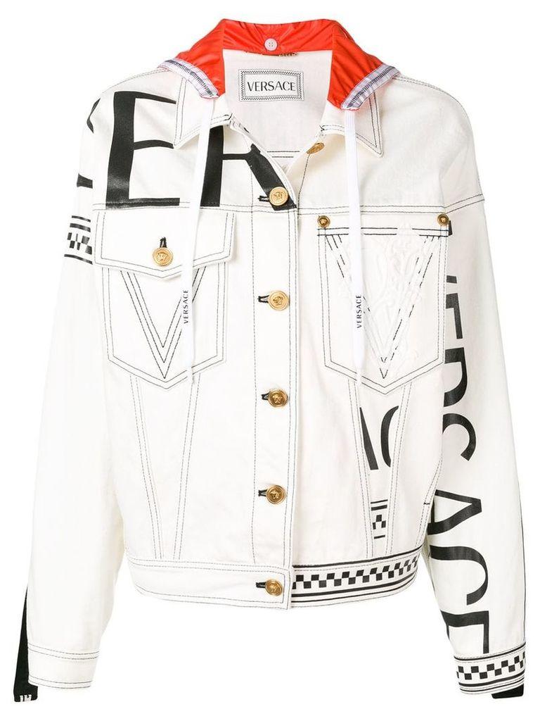 Versace hooded denim logo jacket - White