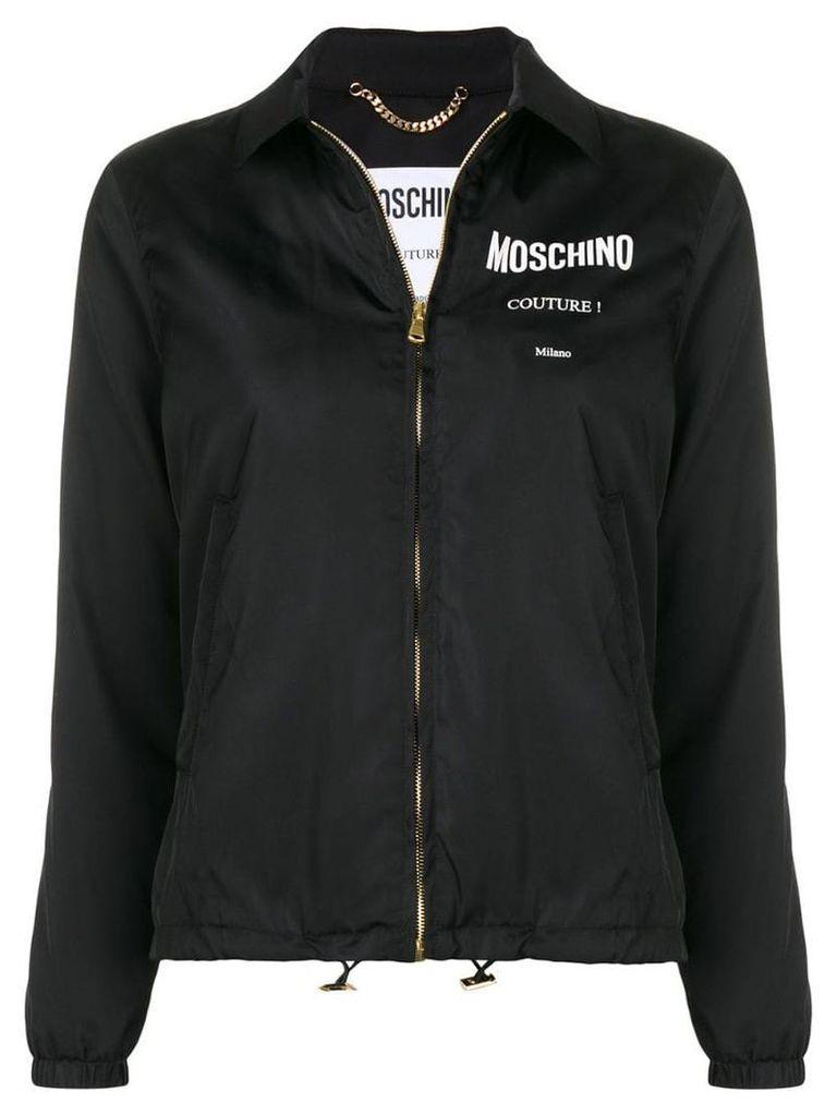 Moschino logo print zipped jacket - Black