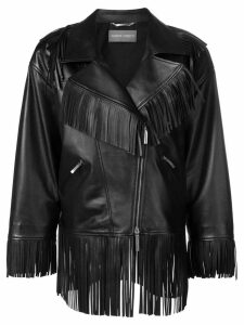 Alberta Ferretti oversized fringe trim biker jacket - Black