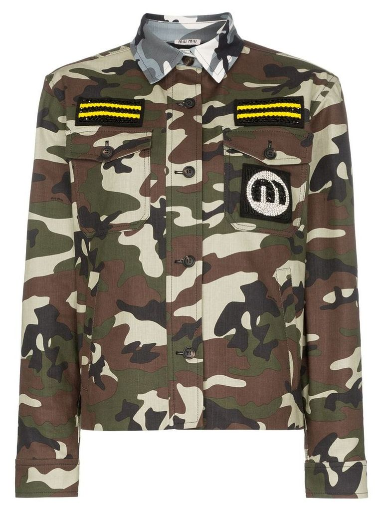 Miu Miu contrast collar patch embroidered military jacket - Green