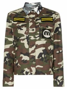 Miu Miu contrast collar patch embroidered military jacket - Green