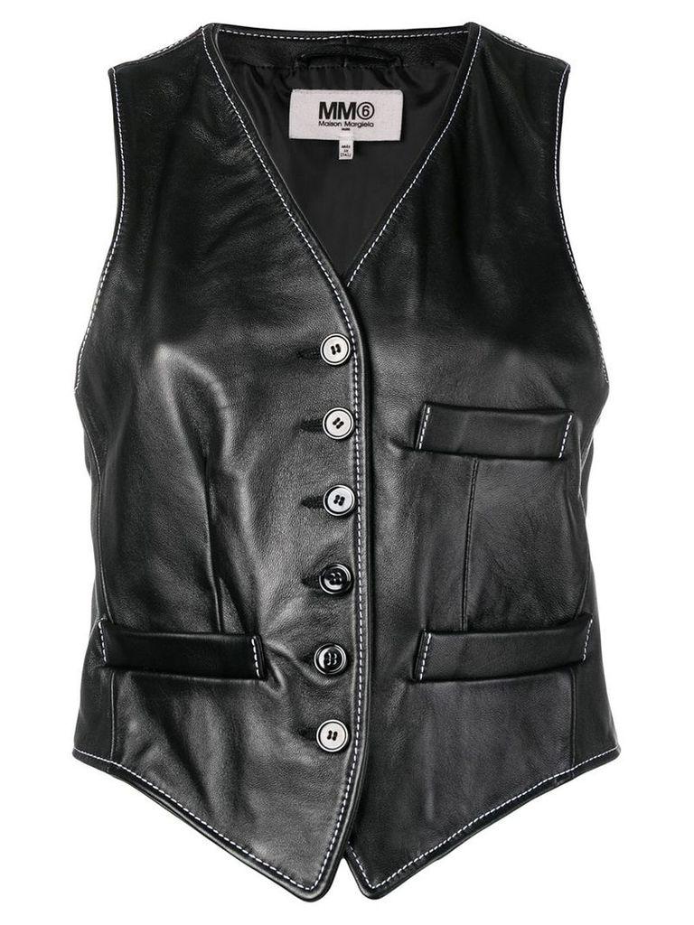 Mm6 Maison Margiela cropped leather waistcoat - Black