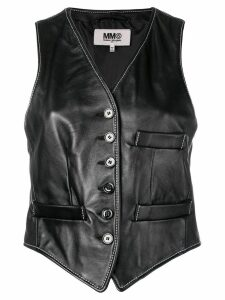 Mm6 Maison Margiela cropped leather waistcoat - Black