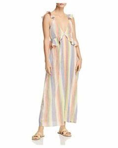 Saylor Sleeveless Rainbow-Stripe Gauze Maxi Dress