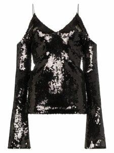Filles A Papa Cold shoulder sequin stretch top - Black