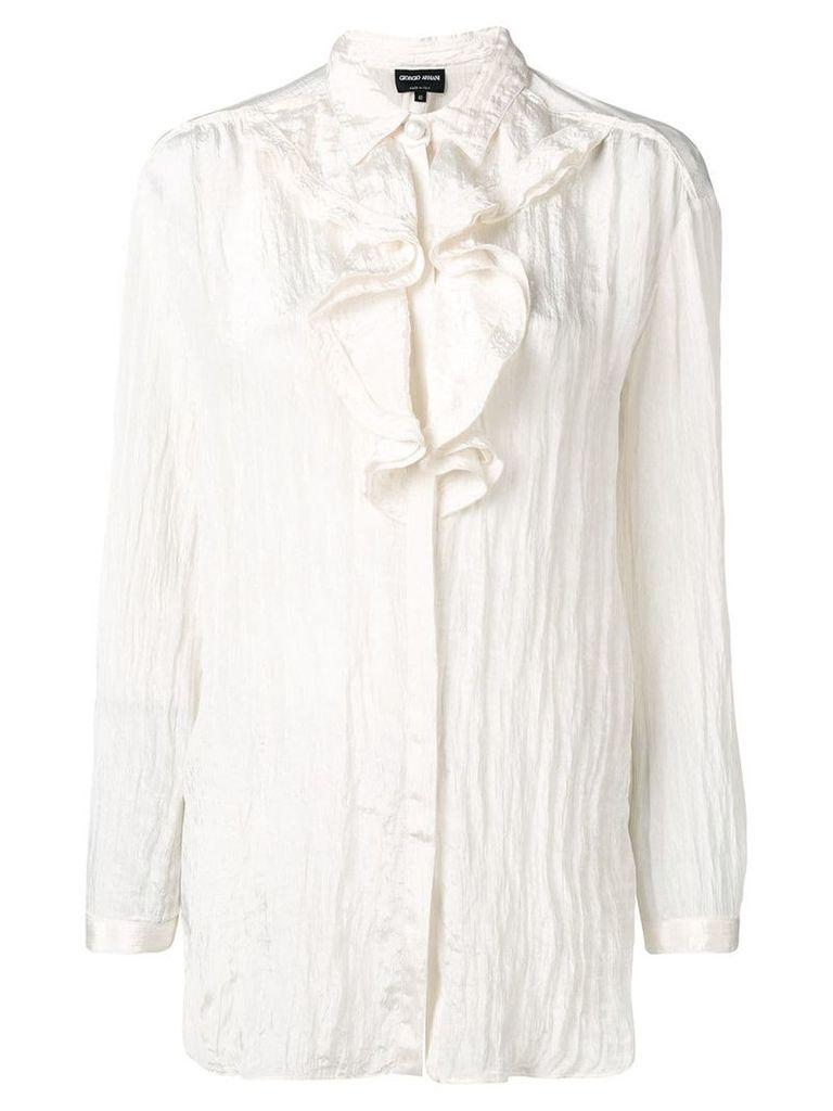 Giorgio Armani ruffled neck crepe blouse - Neutrals