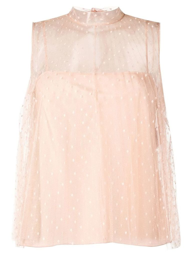 Red Valentino polka dot tulle top - Neutrals