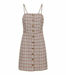 White Houndstooth Button Front Pinafore Dress New Look