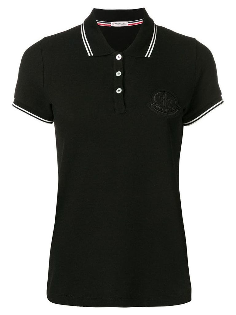 Moncler contrast-trim logo polo shirt - Black