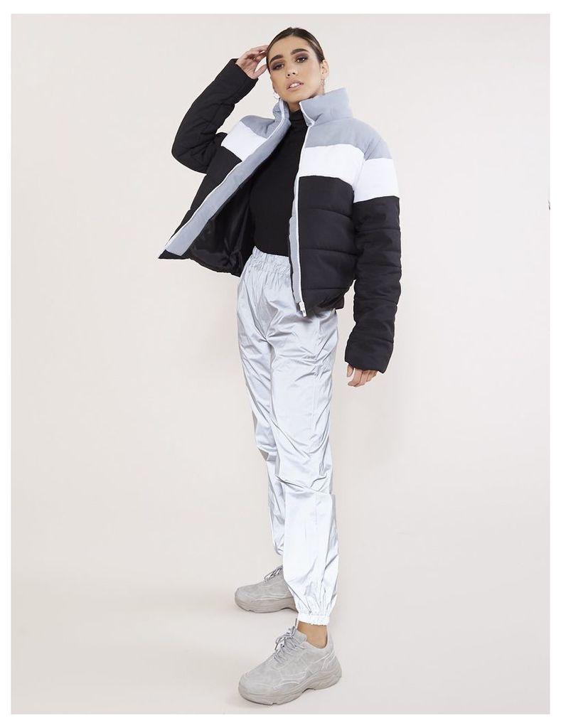 Colourblock Puffer Coat, Grey