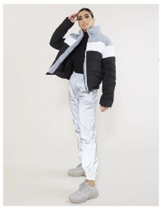 Colourblock Puffer Coat, Grey
