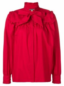 Alexa Chung bow detail ruffle trim shirt - Red