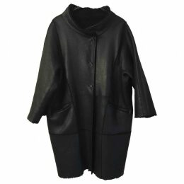 Leather peacoat