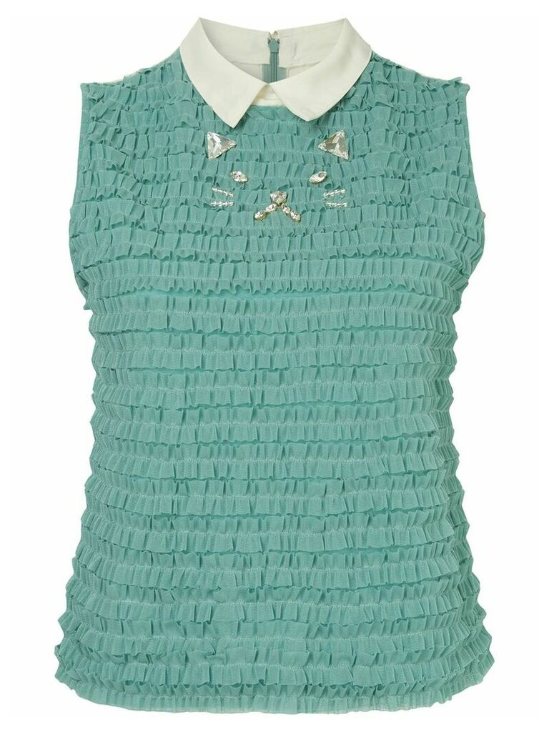 Tu es mon TRÉSOR Cat mesh frill top - Green