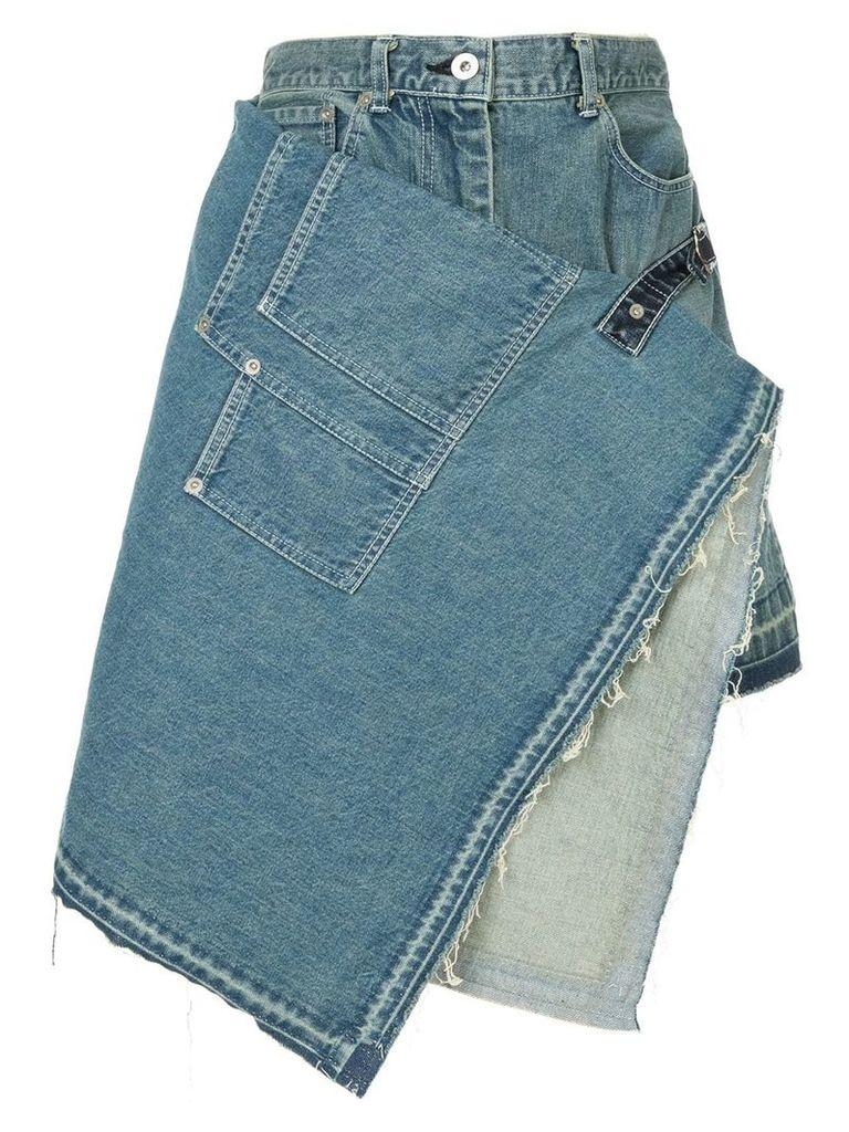 Sacai layered front denim skirt - Blue