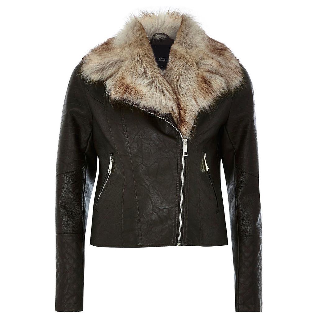Womens Brown faux fur trim biker jacket