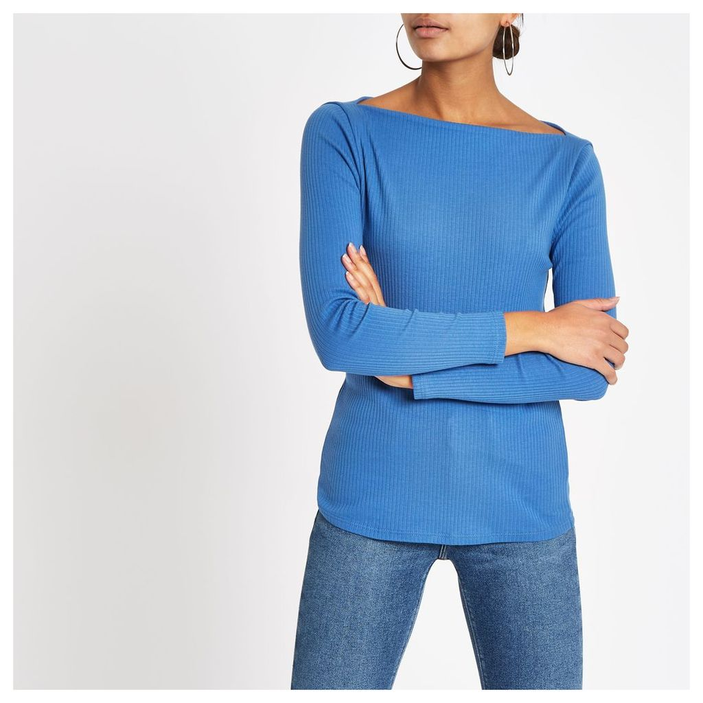 Womens Blue ribbed boat neck long sleeve top