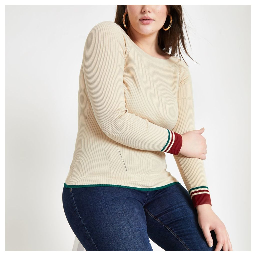 Womens Plus Cream tipped boat neck top