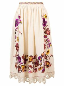 Ulla Johnson embroidered floral full skirt - NEUTRALS