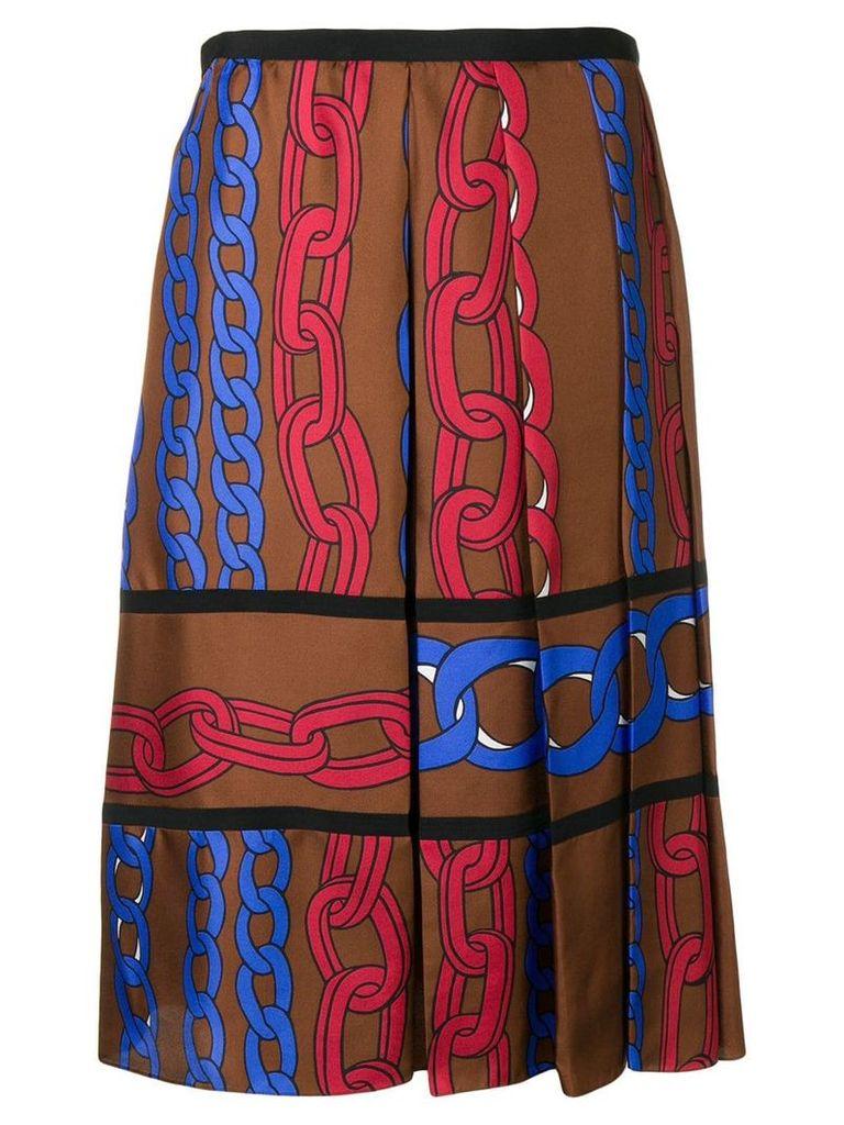 Marni chain print skirt - Brown