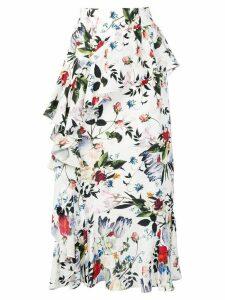 Erdem floral ruffle skirt - White