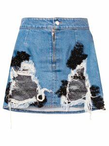 Almaz denim and lace mini skirt - Blue