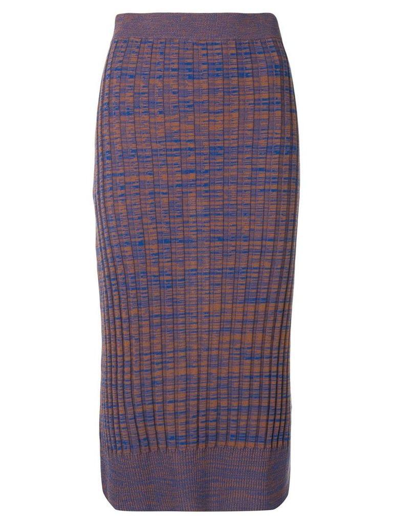 Jil Sander Navy knitted ribbed pencil skirt - Blue