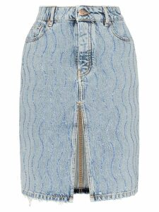 Filles A Papa rhinestone embellished denim skirt - Blue