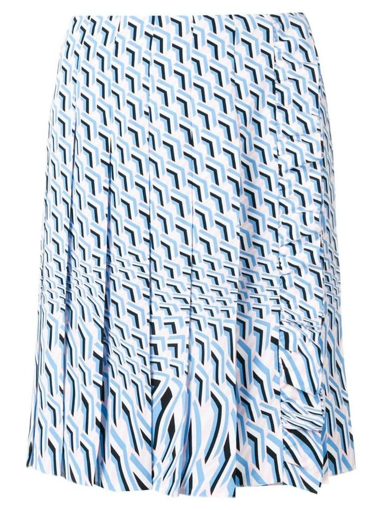 Prada geometric print pleated skirt - Blue