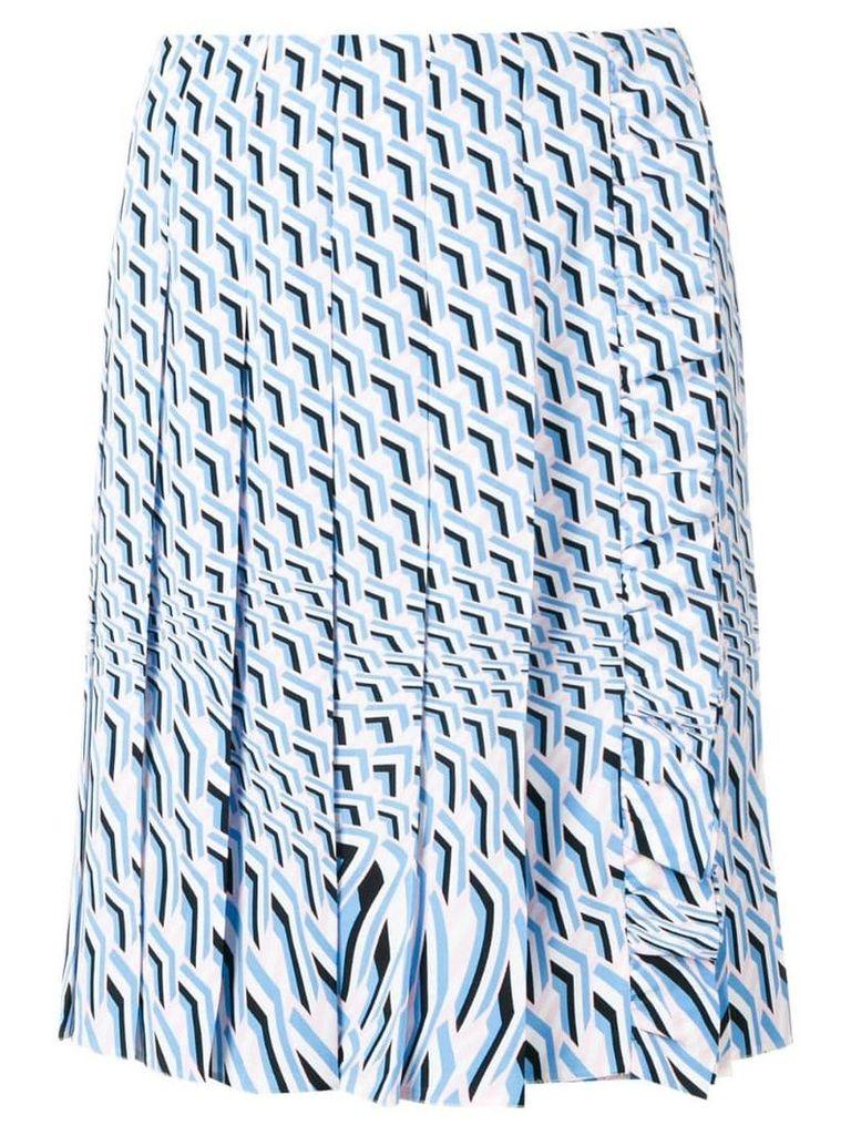 Prada geometric print pleated skirt - Blue