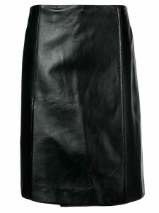 Prada wrap front leather skirt - Black