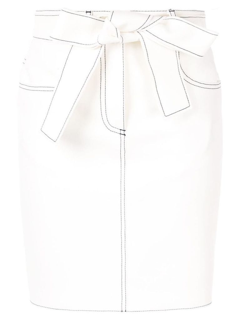 MSGM contrast stitch skirt - White