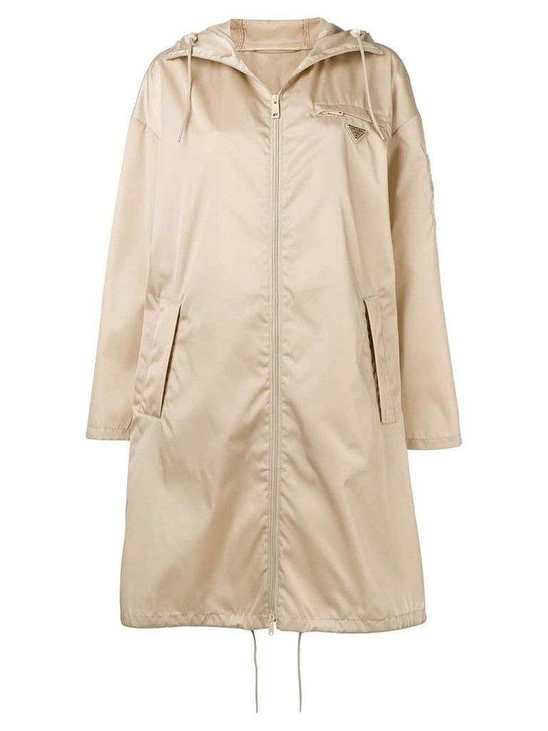 Prada logo raincoat - Neutrals