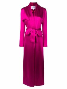 Galvan long belted coat - Pink