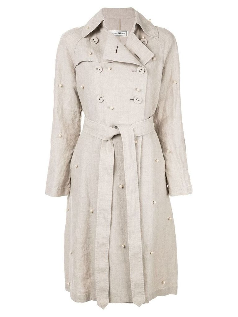 Tu es mon TRÉSOR dot pearl trench coat - Neutrals