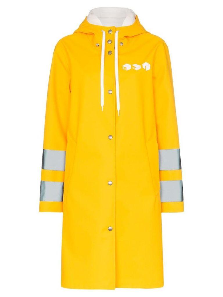 Miu Miu logo print hooded waterproof raincoat - Yellow