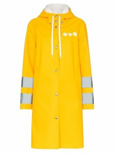 Miu Miu logo print hooded waterproof raincoat - Yellow