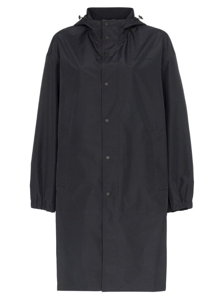 Helmut Lang tonal logo hooded raincoat - Black