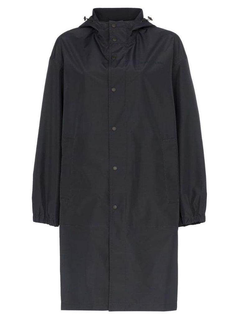 Helmut Lang tonal logo hooded raincoat - Black
