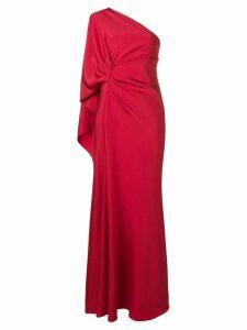 Alberta Ferretti one-shoulder draped gown - Red