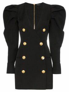 Balmain puff sleeve mini dress - Black