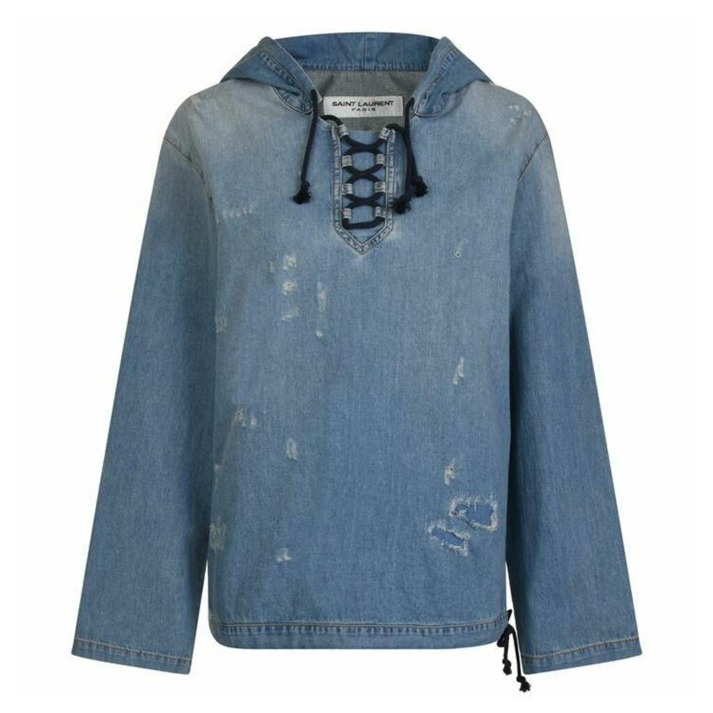 SAINT LAURENT Destroyed Denim Hooded Shirt