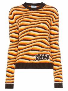 Prada Geometric striped cashmere knit jumper - Brown