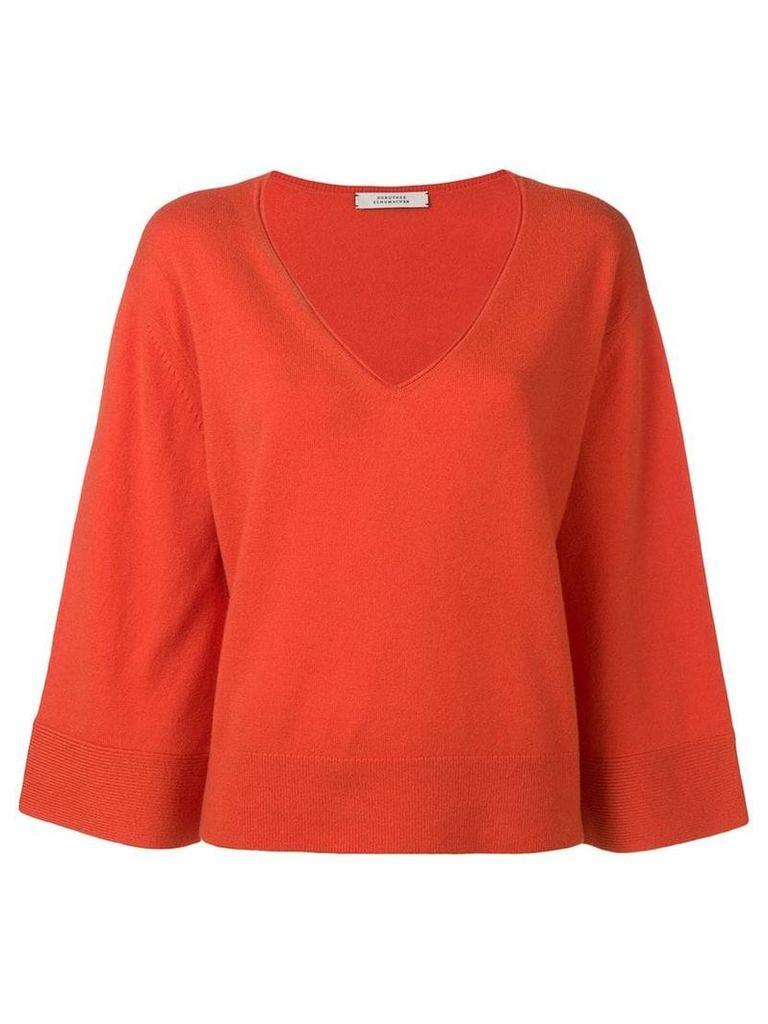 Dorothee Schumacher knit loose fit V-neck jumper - Orange