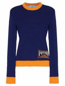 Prada contrast trim logo knitted jumper - Blue