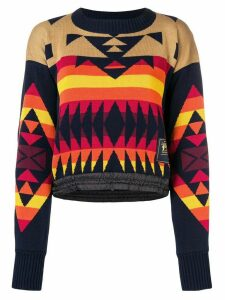 Sacai pendleton pattern jumper - Blue