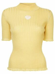 Tu es mon TRÉSOR Shell mock neck sweater - Yellow