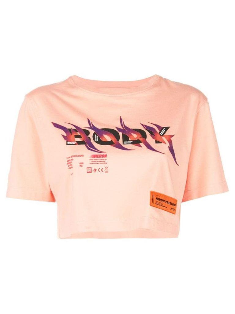 Heron Preston printed crop T-shirt - Orange