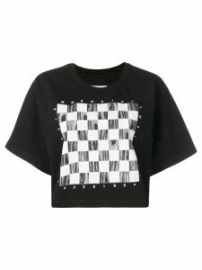 Mm6 Maison Margiela cropped checkerboard-print T-shirt - Black
