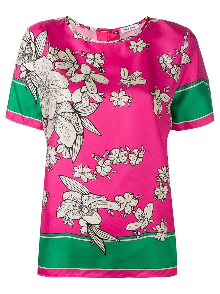 P.A.R.O.S.H. floral crew neck top - Pink
